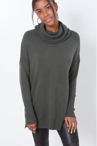 Green Cowlneck Pullover Tunic GREEN