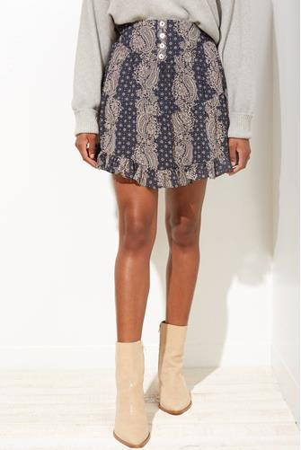 Blu Pepper Mixed Print Ruffle Mini Skirt NAVY