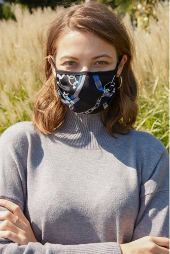 Chain Animal Print Face Mask BLACK MULTI -