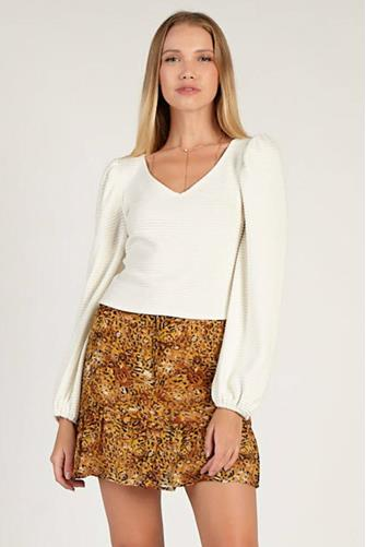 Textured Knit Puff Sleeve Top CREAM