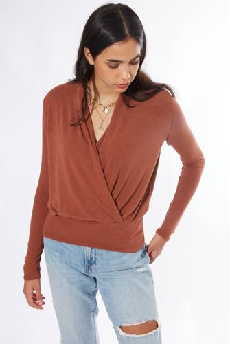 Textured Surplice Long Sleeve Top  RUST