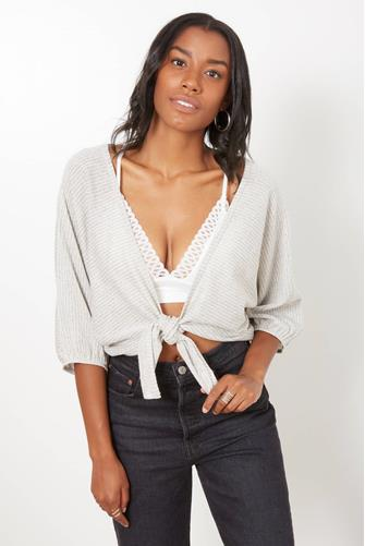 Ribbed Knit Tie Front 3/4 Sleeve Top GREY