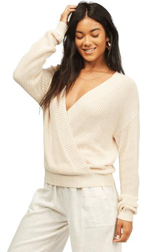 Bring It Surplice Sweater IVORY