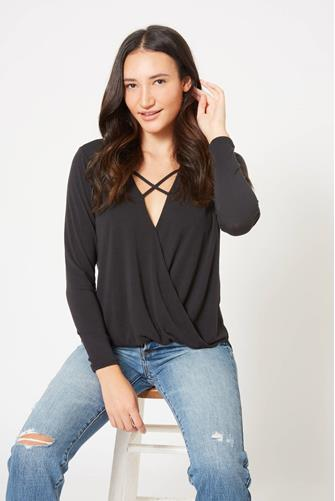 Surplice Cupro Long Sleeve Top BLACK