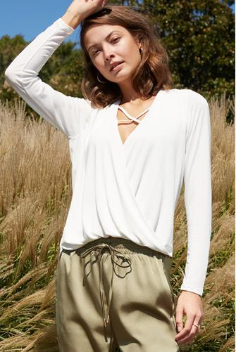Surplice Cupro Long Sleeve Top IVORY