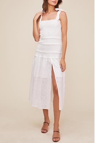 Tessa Smocked Eyelet Midi Dress WHITE