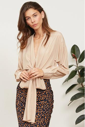 BUTTON DOWN TIE FRONT LS BLOUS TAN