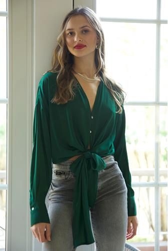 Button Down Tie Front Blouse GREEN