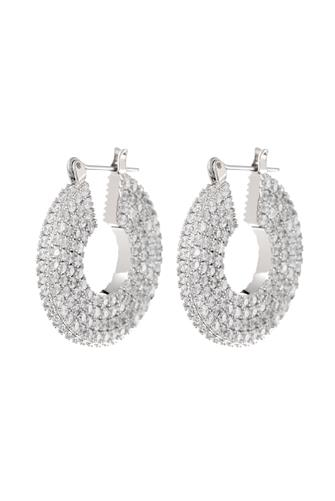 Silver Pave Stefano Hoop Earrings SILVER