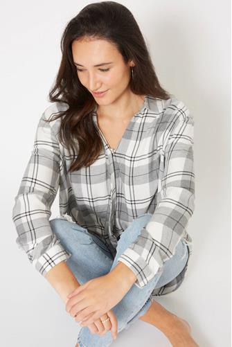 Harper Plaid Surplice Top  GREY