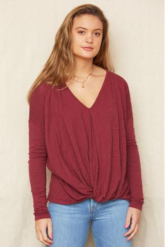 Burgundy Slub Twist Front Top BURGUNDY