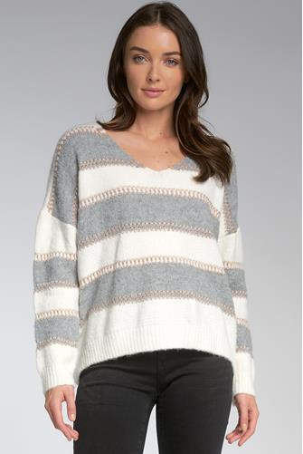 Stripe Lurex Sweater GREY-MULTI--
