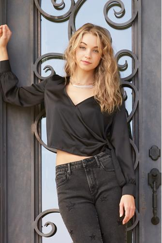 Surplice Pull Through Wrap Blouse BLACK