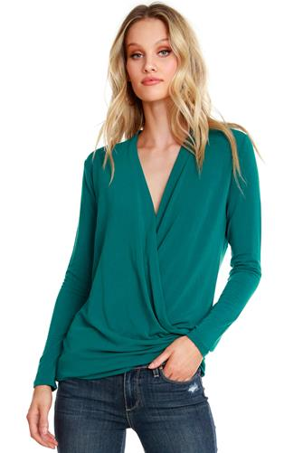 Jade Surplice Wrap Long Sleeve Top JADE-GREEN