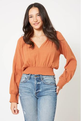 SMOCKED BOTTOM V NECK BLOUSE ORANGE