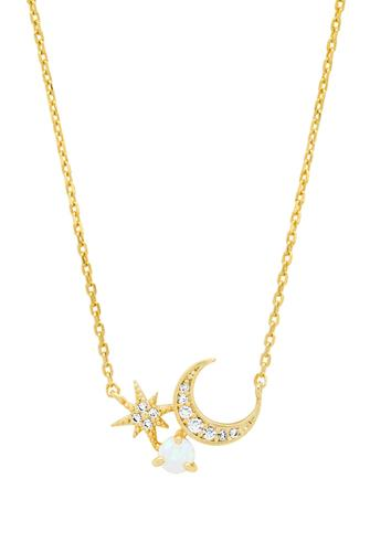 Crescent Moon And Starburst Pendant Necklace GOLD