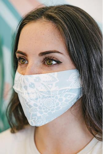 Paisley Pleated Face Mask LITE BLUE