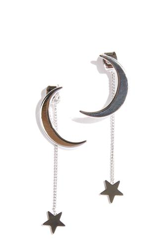 Silver Moon Stud & Linear Star Drop Earrings SILVER