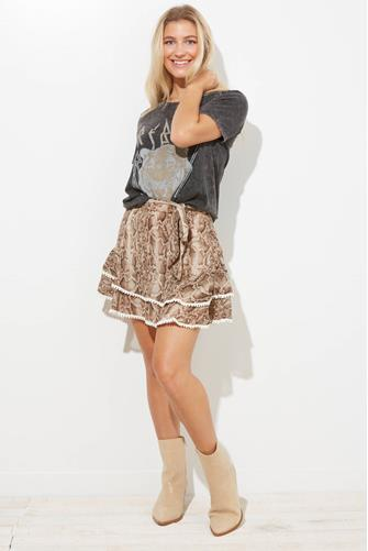 En Saison Python Print Ruffle Mini Skirt BROWN-MULTI--