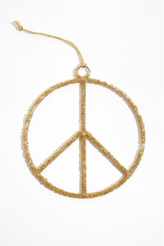 Gold Peace Sign Ornament GOLD