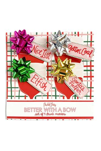 Gift Bow Drink Markers Four Pack MULTI