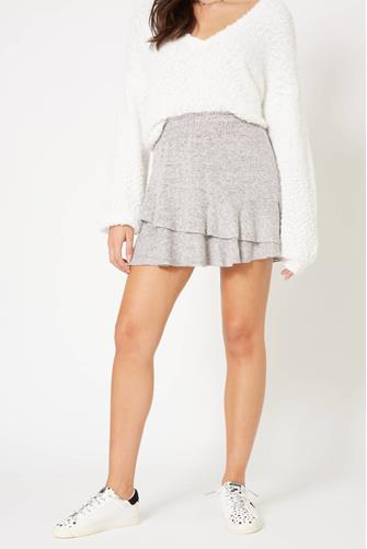 Hacci Ruffle Mini Skirt GREY