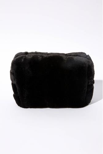Black Faux Fur Cosmetic Pouch BLACK