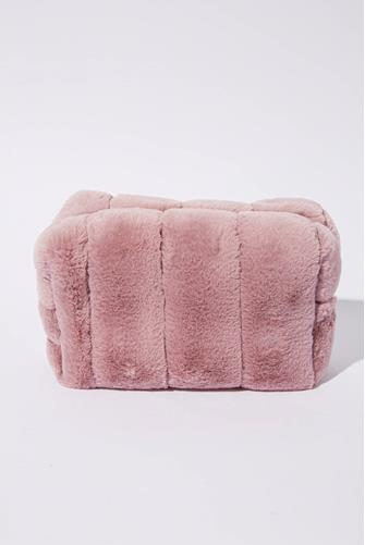 Pink Faux Fur Cosmetic Pouch LITE-PINK