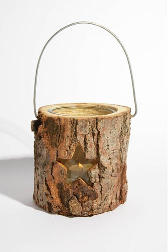 WODDEN TEALIGHT LANTERN-STAR BROWN