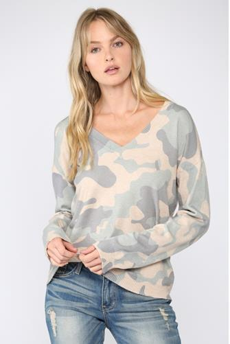 Blue Camo V-Neck Sweater BLUE-MULTI--