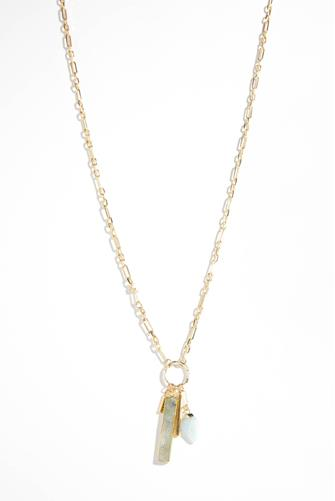 Long Gold Chain Link Necklace GREY MULTI -