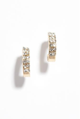 Mini Cubic Zirconia Huggie Earrings GOLD