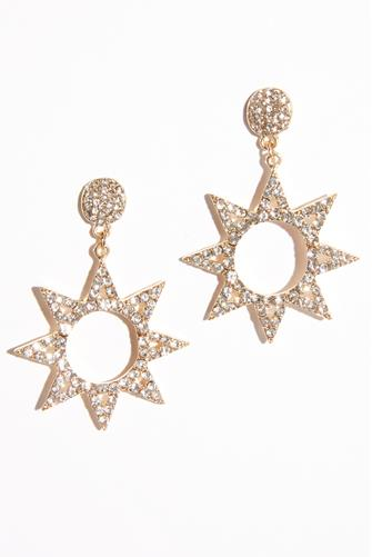 Large Cubic Zirconia Open Star Drop Earrings GOLD