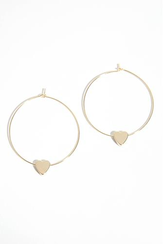 GOLD HOOP W/HEART CHARM GOLD