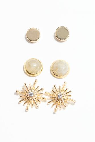 Gold Starburst Stud Earring Set GREY-MULTI--