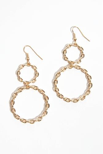 Double Circle Open Chain Drop Earrings GOLD