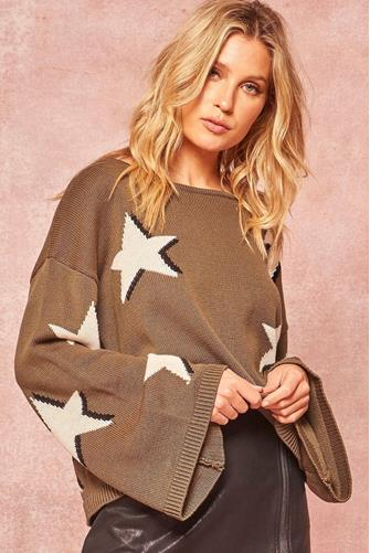 Star Boatneck Sweater OLIVE
