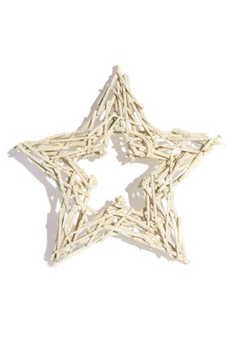 White Glitter Twig Star WHITE