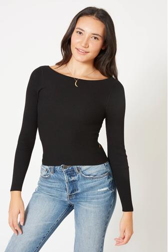 Cross Back Tie Pullover BLACK