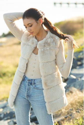 Faux Fur Panel Vest BEIGE