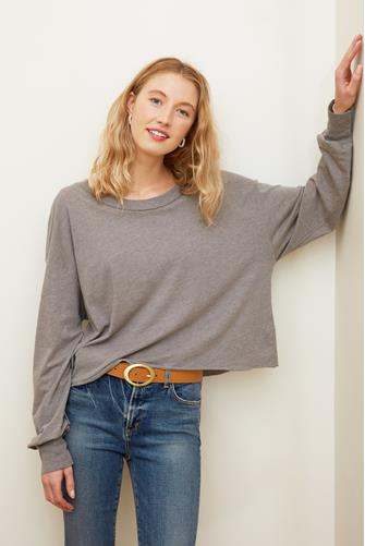 Axel Slouchy Long Sleeve Top GREY