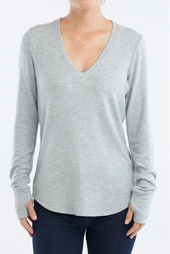 V-Neck Sparkle Long Sleeve Top GREY
