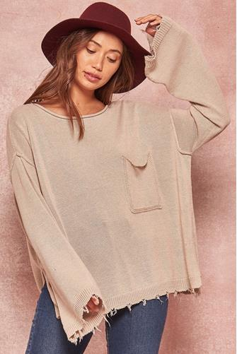 Pullover Pocket Sweater OATMEAL