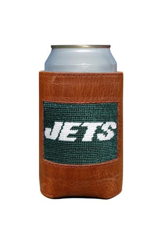 New York Jets Needlepoint Can Cooler BROWN