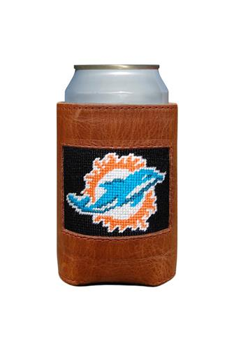 Miami Dolphins Needlepoint Can Cooler BROWN