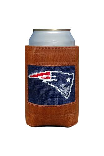 New England Patriots Needlepoint Can Cooler BROWN