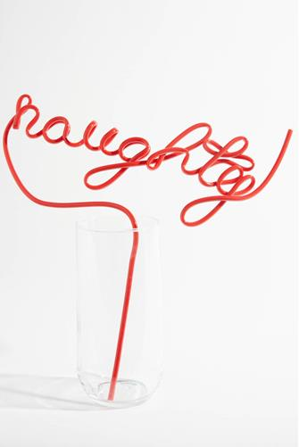 HOLIDAY NAUGHTY STRAW RED