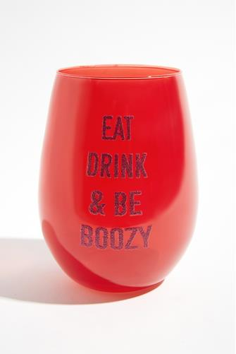 Eat Drink & Be Boozy Wine Glass RED