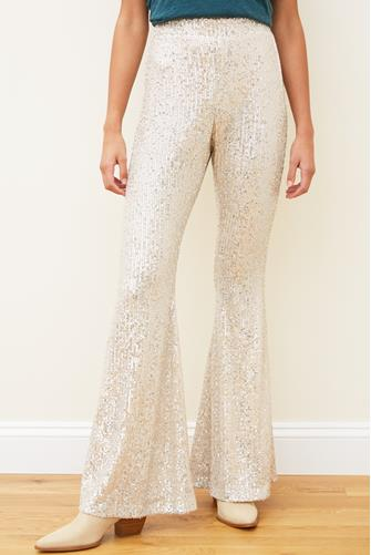 SEQUIN FLARE PANTS SILVER
