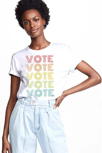 Vote Rainbow Graphic Tee WHITE